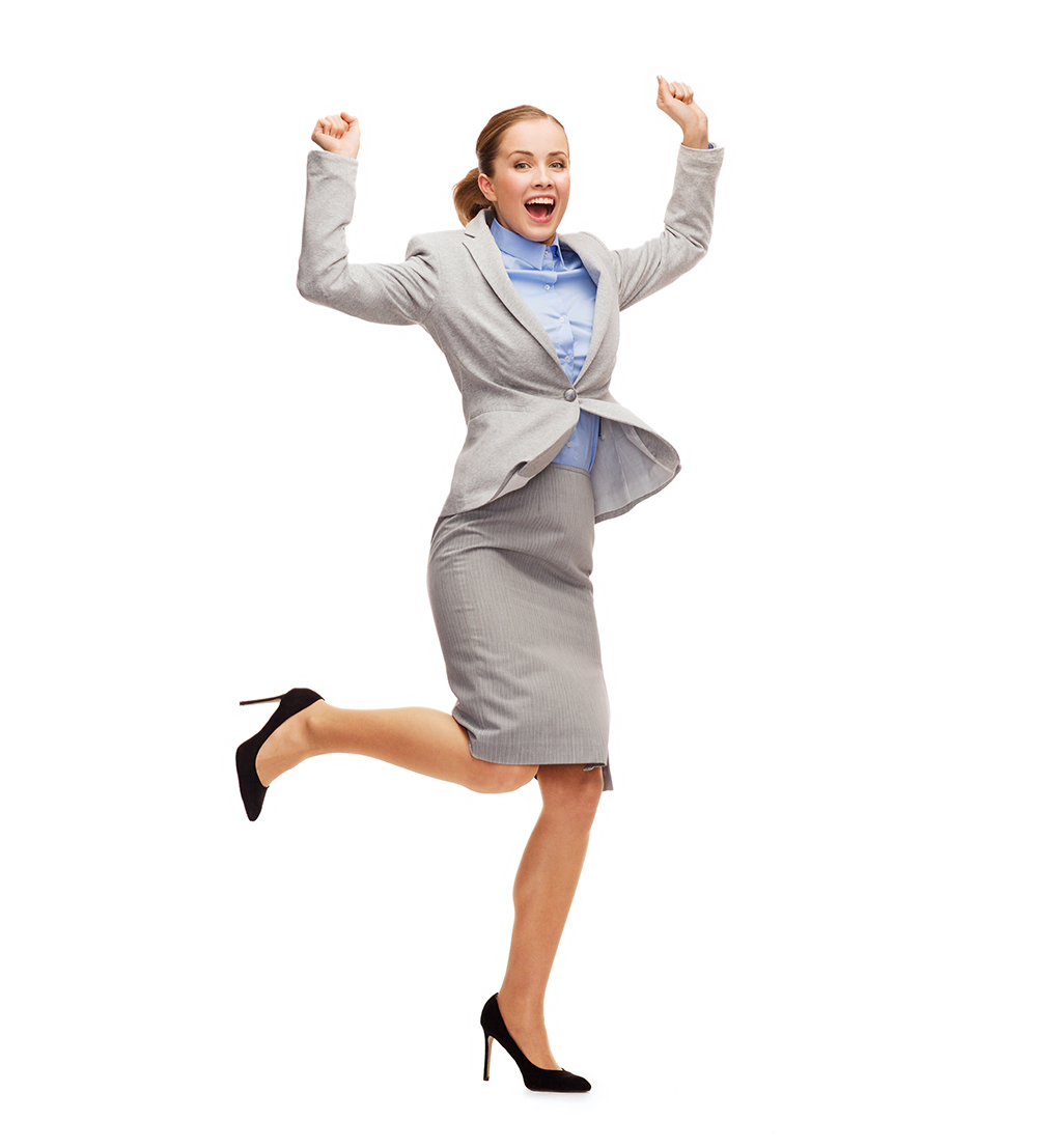 business and education concept - young happy woman jumping with hands up